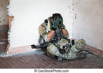 soldado, norteamericano, sorprendido