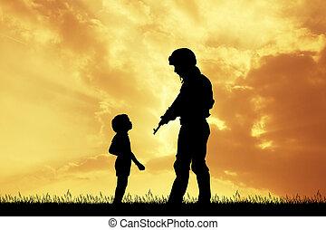 soldado, pôr do sol, criança
