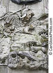 soldado, pedra, esculpido