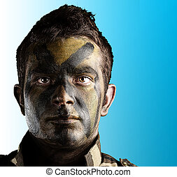 soldado, rosto, pintado