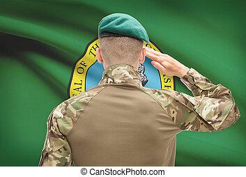 soldado, saludar, a, estados unidos de américa, bandera del estado, conceptual, serie, -, washington