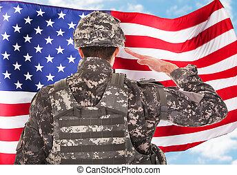 soldado, saludar, bandera estadounidense
