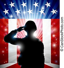 soldado, saludar, bandera estadounidense, plano de fondo