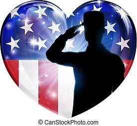 soldado, saludar, patriótico, bandera estadounidense, corazón
