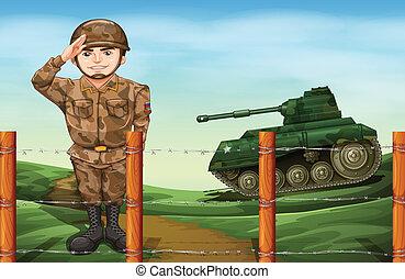 soldado, saludo, mano