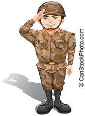 soldado, se manifestar, saludo, mano
