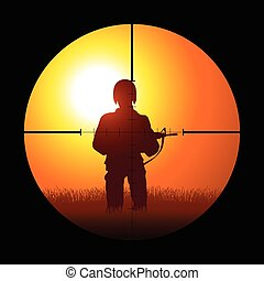 soldado, ser, apuntar, por, un, francotirador