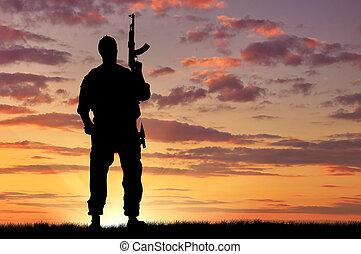 soldado, silueta, arma