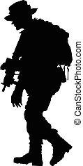 soldado, silueta, con, armas