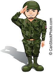 soldado, sonriente, saludo, mano