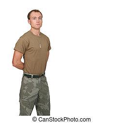soldado, sujeito, exército