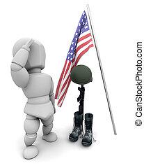 soldado, tributo, caído