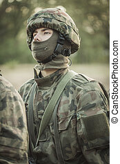 soldado, uniforme, mascarado, militar