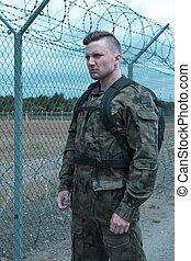 soldado, uniforme, militar