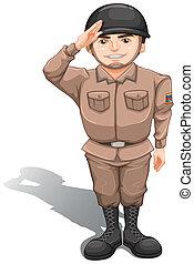 soldado, valiente, saludo, mano