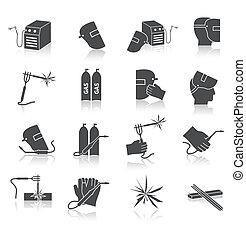 soldador, jogo, ícones