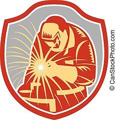 soldador, soldadura, retro, trabajando, protector