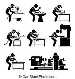 soldador, trabalhador, metalworking, aço