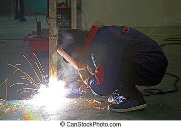 soldadores, fabricando