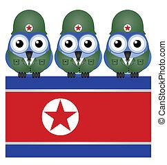 soldados, bandera, corea, norte