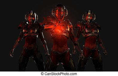 soldados, cyborg, avanzado