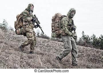 soldados, ejército, área, patrullar, militar, miembros, ...