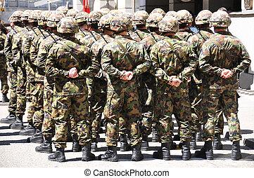 soldados, em, camuflagem