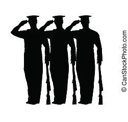 soldados, en, atención