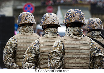soldados, en, el, desfile militar