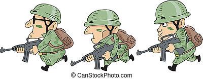 soldados, executando