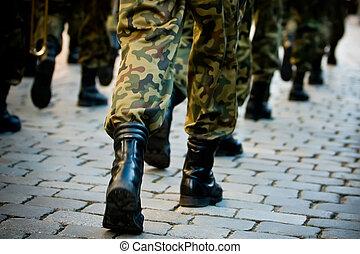 soldados, março, em, formação