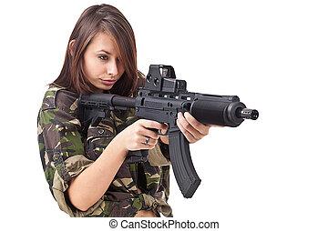 soldados, mulher, jovem, armas