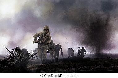 soldados, norteamericano, campo de batalla