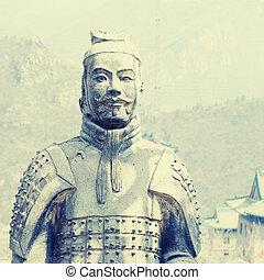 soldados, terracota, gran pared, china.