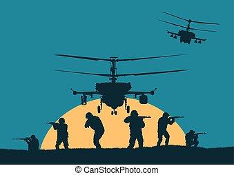 soldados, yendo, ilustración