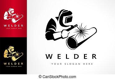 soldadura, tubo, máscara, logotipo, soldador, welds, vector