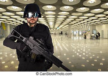 soldat, aéroport, défense, contre, terrorisme
