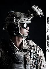 soldat, agressif, prise, mode, homme