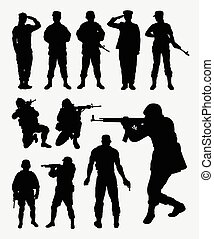 soldat, aktivitet, silhouettes