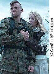 soldat, aller, guerre, ukrainien