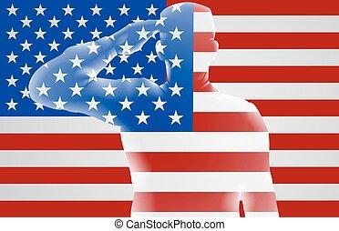 soldat, américain, saluer