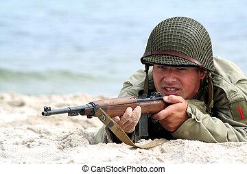 soldat, amerikan, skjutning