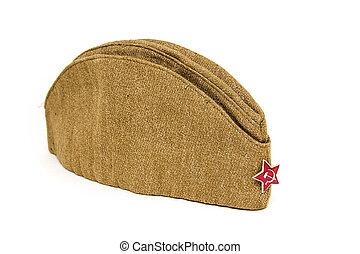 soldat, arrière-plan., casquette, période, champ, urss, blanc, soviétique