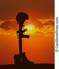 soldat, baissé