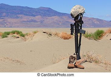 soldat, baissé, gravesite