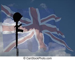 soldat, baissé, royaume-uni