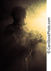 soldat, barbu, forces spéciales