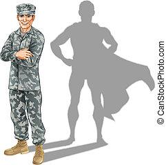 soldat, concept, héros