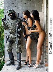 soldat, et, deux femmes