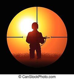 soldat, existens, målinriktad, av, a, krypskytt
